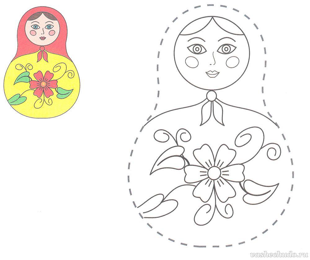 Раскраска для детей 3-5 лет. Матрёшка