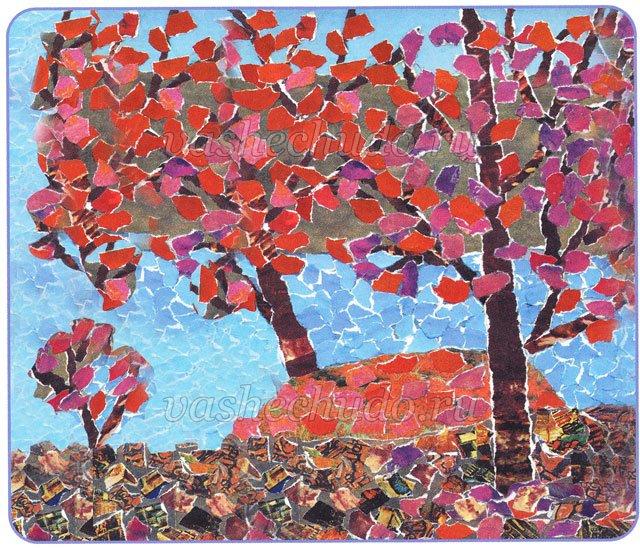 Картинки на тему осень из цветной бумаги