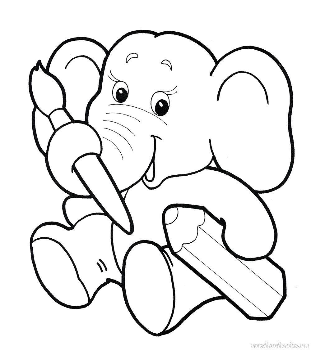 Слоненок раскраски для детей