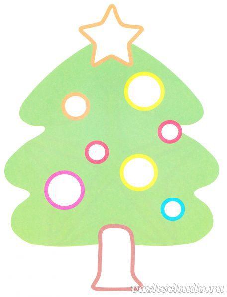 Новогодняя картинка раскраска для малышей. Елочка